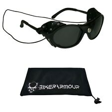 1e7295848b2 GLACIER POLARIZED SUNGLASSES Leather Side Shields Ski Mountain Climbing  Glasses