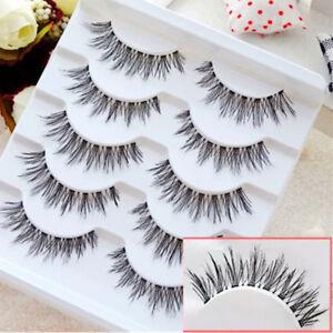 New 5 Pairs Natural Long Eye Lashes Makeup Handmade Fake False Eyelashes un