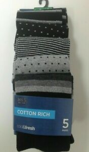 M&S MARKS AND SPENCER Men's Cotton Rich socks 5 PAIRS Black/Grey selection