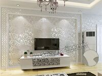 Embossed Texture Wallpaper Metallic 3D Damask Wall Roll Washable Decor JO