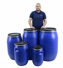 New Quality Plastic Open Top Barrel Drum Keg With Lid & Closure - Choice Of Size