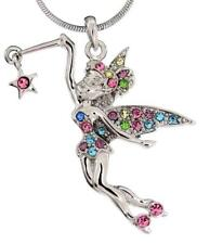 "Tinkerbell Fairy Austrian Crystal Charm Pendant Silver 17"" Necklace Star Multi"