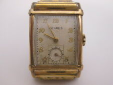 1940s Benrus Wristwatch w/ Stretch Band Cushion Crystal Deco Case