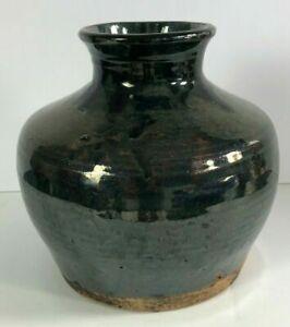 Antique Chinese Mottled Black Glazed Bulbous Form Stoneware Water Pot
