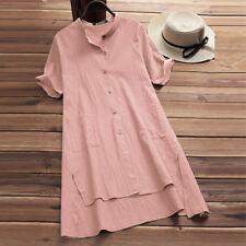UK Womens Buttons V Neck Ladies Asymmetrical Loose Tunic Tops T Shirt Mini Dress