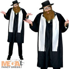 Mens Jewish Rabbi Fancy Dress Saints & Sinners Religious Adults Costume Outfit