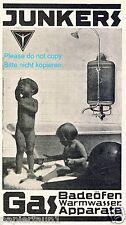 Junkers Boiler Reklame von 1926 Badeofen Warmwasser Bad Kinder Nackedei Wasser +