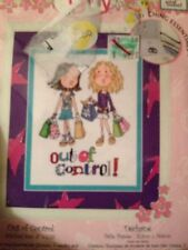 "Cute Girly ""Out of Control"" Shopping Cross Stitch Kit With Aida Bucilla 6 X 7.75"