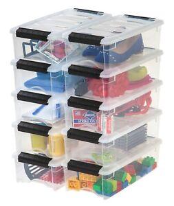 5Qt Clear View Storage Bin Plastic Organizer Latch Box with Lid, Pack of 12