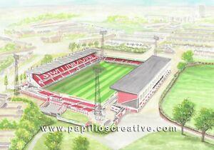 County Ground Aerial View Stadium Fine Art A4 Print - Swindon Town FC