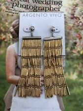 Color Gold Plated New$65 Argento vivo earrings 3.5� Multi