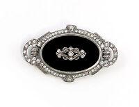 9901596 925er Silber Art déco Brosche mit Onyx u. Swarovski-Steinen L4,5cm
