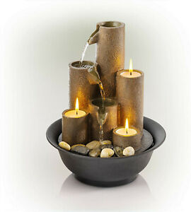 Alpine Corporation WCT202 Tiered Column Tabletop Fountain w/ 3 Candles, 11 Inch