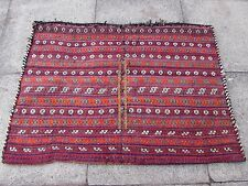 Old Hand Made Persian Oriental Wool Red Colourful Tribal Kilim Bag 120x86cm
