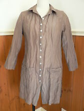 THE ARK SIZE S 10 MOCHA BROWN CRUSHED LOOK LONG SHIRT TOP SILK COTTON CASUAL