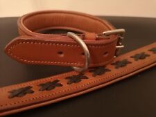 Leather Dog Collar tan with black braided soft padded with solid fittings 50 cm