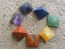 7 chakra pyramid small set healing stone 10 to 15 mm with plastic pouch