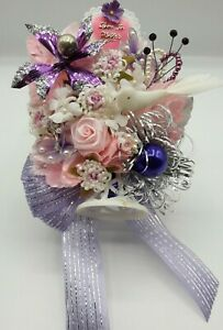 Vintage HANDMADE Mother's Day Corsage Decoration Glass Millinery Bell Bird Pearl
