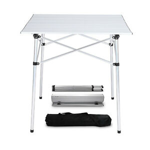 Portable Aluminum Table Folding Camping Desk Tray Outdoor Indoor Picnic W/ Bag