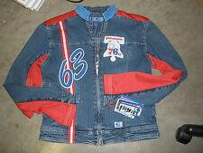 G-111 Carl Banks girls large New jean jacket Philadelphia 76ers Nwt stretch #63