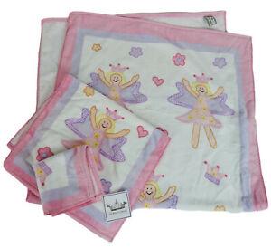 NEW Girls Kids Pink White Fairy Princess Bath Hand Towel 3-piece Set 100% Cotton