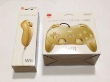 R02-10 Club Nintendo Japan Gold Wii Classic Controller PRO Nunchuck Nunchaku