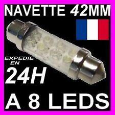 AMPOULE LAMPE NAVETTE FEU A 8 LED C5W 42MM FEUX BLANC BLANCHE XENON 12V