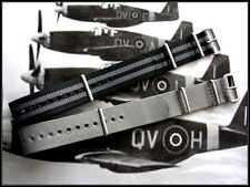 22mm Black Grey NATO G10 Military watchband 2pak RAF MoD Bonded stitch IW SUISSE