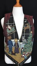 Vintage UGLY Christmas Holiday Tapestry Vest Womens Size Large