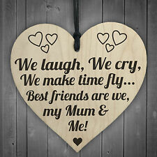 Best Friends My Mum & Me Wooden Hanging Heart Plaque Mothers Love Plaque Gift