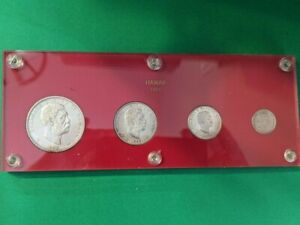 Gorgeous 1883 Encased Kingdom of Hawaii Silver 4 Coin Set ~ $1, 50¢, 25¢ and 10¢
