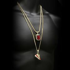 "Gold Plated Hip Hop Retro 11 ""Cherry"" & Iced Red Ruby w Franco & Cuban Chain Set"
