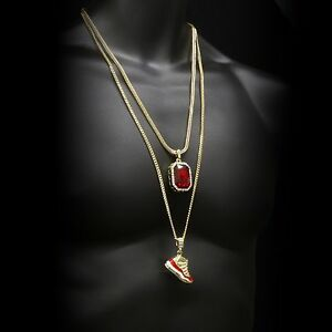 """Gold Plated Hip Hop Retro 11 """"Cherry"""" & Iced Red Ruby w Franco & Cuban Chain Set"""