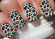 Multi Color Leopard Print Nail Art Stickers Transfers Decals Set of 22