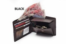 MENS SOFT LEATHER BIFOLD CREDIT CARD PURSE COIN POCKET WITH 3 C/CARD SLOTS-Black