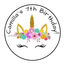 30 unicorn birthday party stickers favors labels personalized flowers tags face