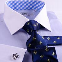Luxury Dark Blue Herringbone Formal Business Dress Shirt French Cuff Striped B2B