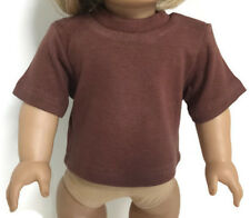 Doll Clothes for 18 inch American Girl - Brown Short Sleeved Knit Top Shirt