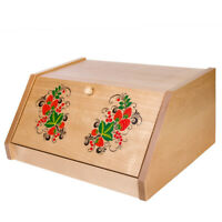 Large Wooden Bread Box Made in Russia Natural Eco with Khokhloma Patterns