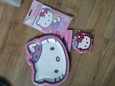 Hello Kitty Birthday Party Set 8 Plates Badge And 6 Invites Pink