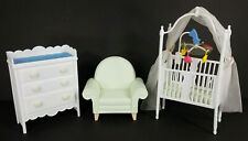 Barbie 3 piece nursery play set white crib with mobile green chair white dresser