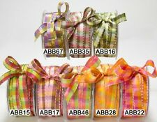 May Arts Checked 12mm Stitched Edge Ribbon - price per metre or on a 45m roll
