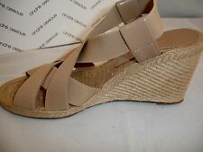 "Womens ANDRE ASSOUS Taupe Beige ""Josie"" Wedge Strappy Sandals Shoes Sz 11 $158"