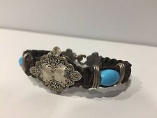 New - Bracelet Leather brown, Silver & Turquoise - Leather & Silver Bracelet