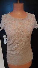 MARC CAIN Spitzen-Shirt, kurzarm, beige/kitt, Gr. N 5, Gr. 40