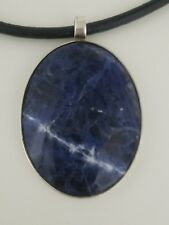 Oval Natural Sodalite Pendant Sterling Silver 925 Leather Necklace TDP