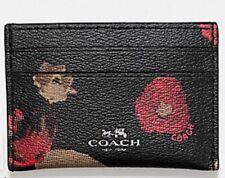 NWT Coach Halftone Flower Black Multi Card Case F56000 $65 + GIFT RECEIPT
