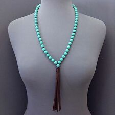 Bohemian Stylish Long Turquoise Stone Beaded Brown Leather Tassel Necklace