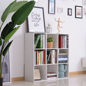 HOMCOM 9 Cube Storage Unit Cabinet Bookcase Display Shelves Chipboard - White
