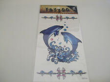 """Fun Tattoos For Girls Pair Of Large Blue Dolphins 4.5"""" New"""